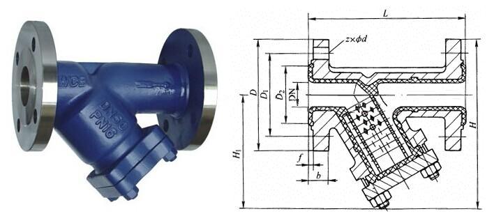 y型蒸汽过滤器结构图