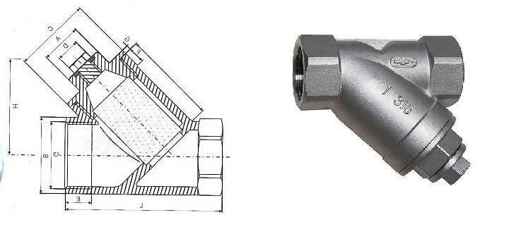 不锈钢内螺纹过滤器结构图